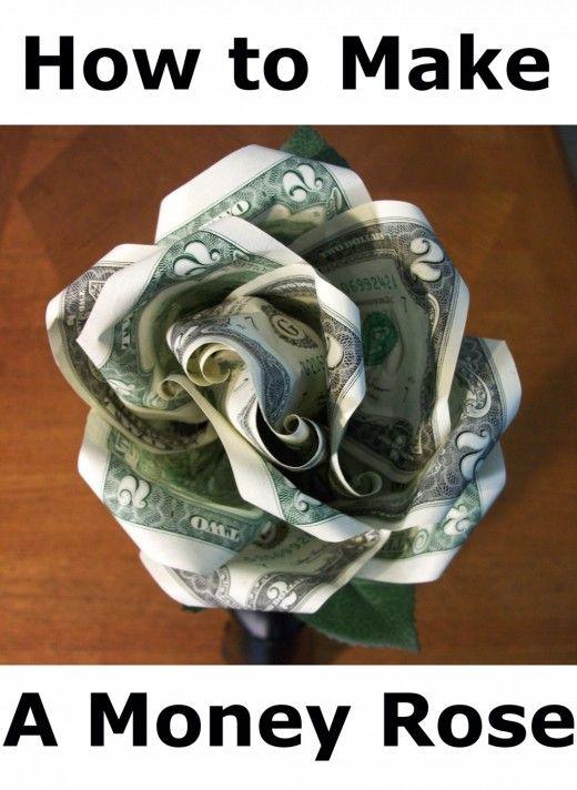Geld roos gemaakt met twee dollarbiljetten