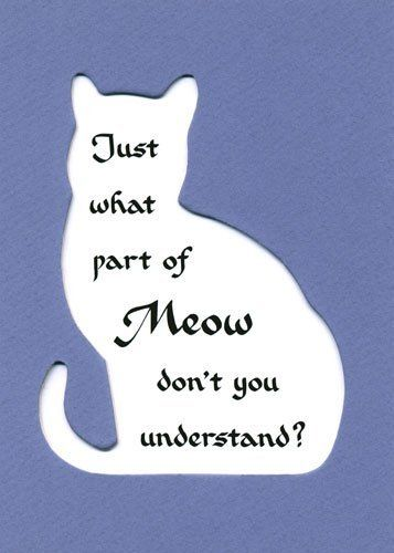 Just What Part of Meow Don't You Understand..Cat Quote