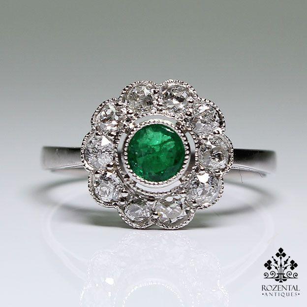 Antique Edwardian Platinum Diamond & Emerald Ring
