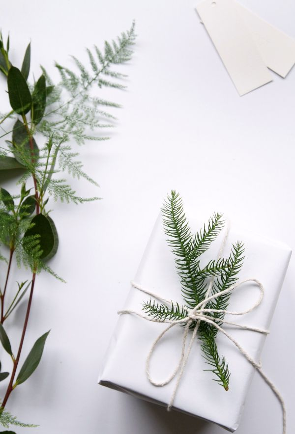 White paper and string gift wrap.