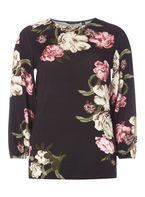 Womens Black and Pink Floral Print Balloon Sleeve Top- Black