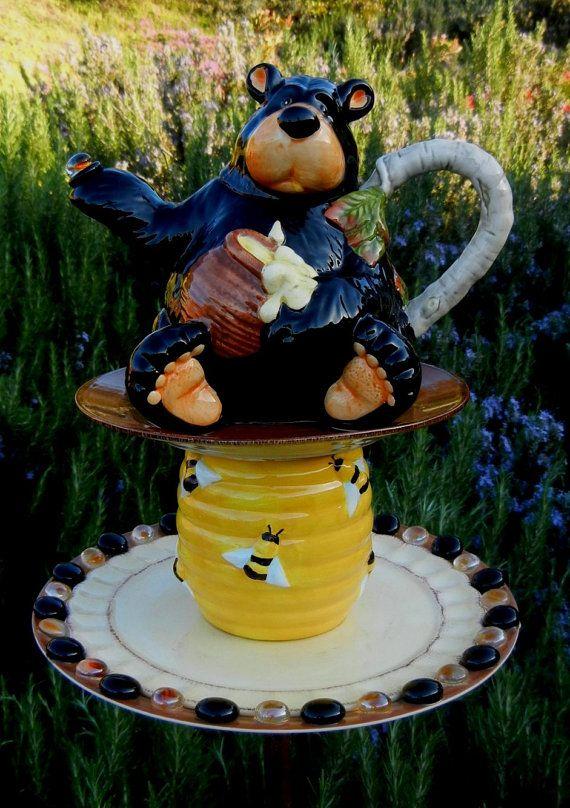 HONEY BEAR HOLLOW - Garden Totem, Garden Stake, Bird Feeder, Garden Art, Garden Whimsy, Garden Sculpture, Yard Art, Bears, Teapot Art