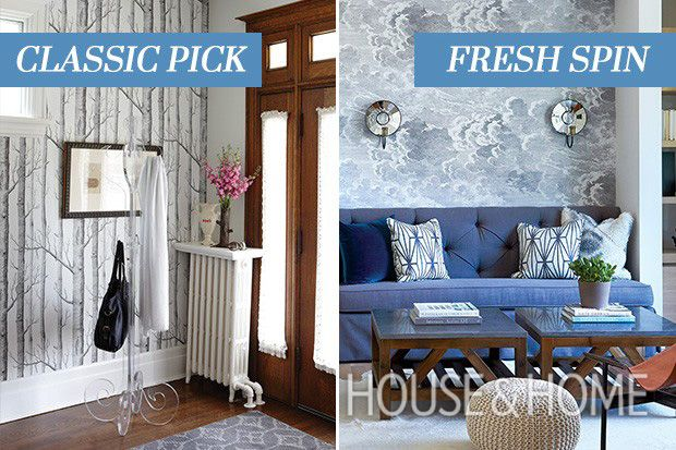 Discover fresh alternatives to popular design trends in our online series, Updated Classics, this time featuring nature-inspired wallpaper. | Photographers: Stacey Brandford (classic); Colin Way (fresh) | Designers: Karen von Hahn (classic); Nam Dang Mitchell (fresh)