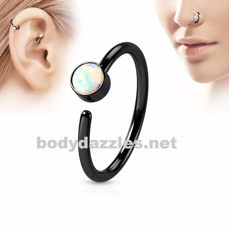 Black with White Opal Set Surgical Steel Nose Hoop Ring Nose Helix Daith Cartilage Ring Body Jewelry 20ga