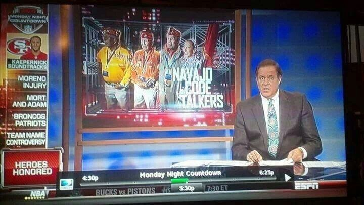 NAVAJO NATION CODE TALKERS HONOR ON MNF TONIGHT..AHEHEE SOLDIERS MARINES.. RIP MY GRANDPA MR. BILLIMAN he loved football too..