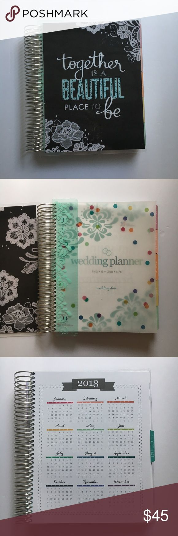 """ERIN CONDREN Wedding Planner💍👰🏼💐💕 There's so much to do before you say """"I Do!""""  12 month calendar  Monthly checklists to keep you on track 70-page notebook for notes and lists  Lists include: wedding tips, monthly checklists, wedding party, vows, photography & music, budget checklist, guest list, cake & flowers, seating arrangement, honeymoon, contact list**, food & bar menu, monthly calendar & notes pages.  **Vendor contact list is partially written on. Can easily be whited out. Also…"""