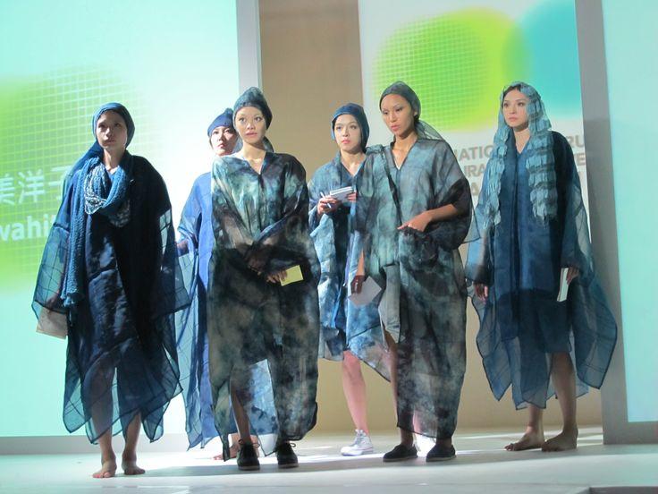 Japanese indigo wearable art - international designers show Taipei International Forum of Natural Dyes & WEFT Taiwan Oct 2014