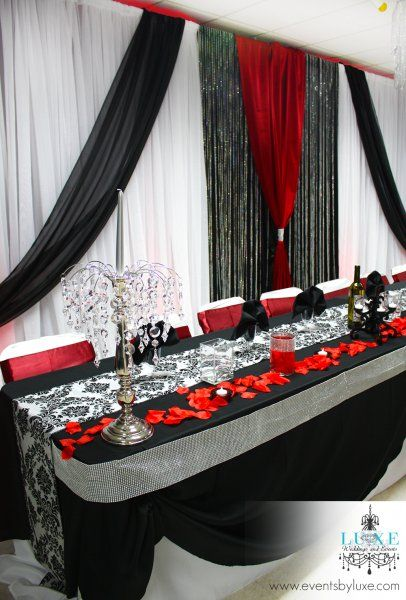 Red Black And White Wedding Backdrop Head Table