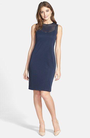 Vince Camuto Sheer Stripe Sheath Dress