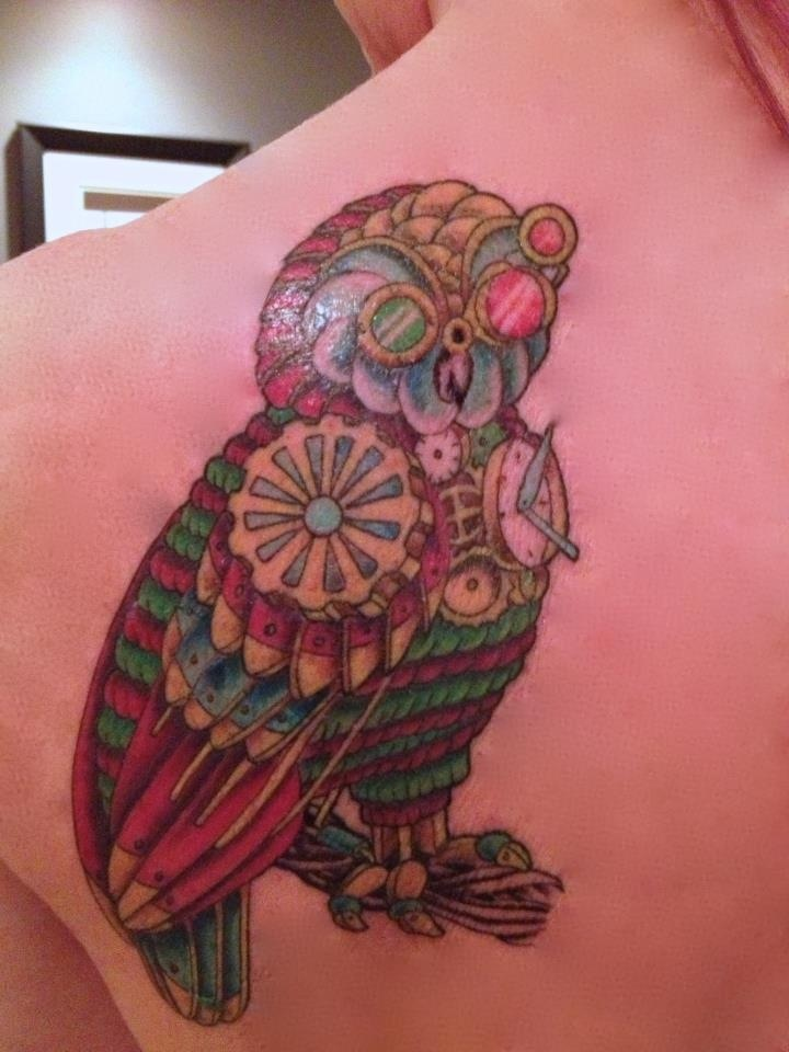 This is my steampunk athena 39 s owl tattoo tattoos for Athena owl tattoo