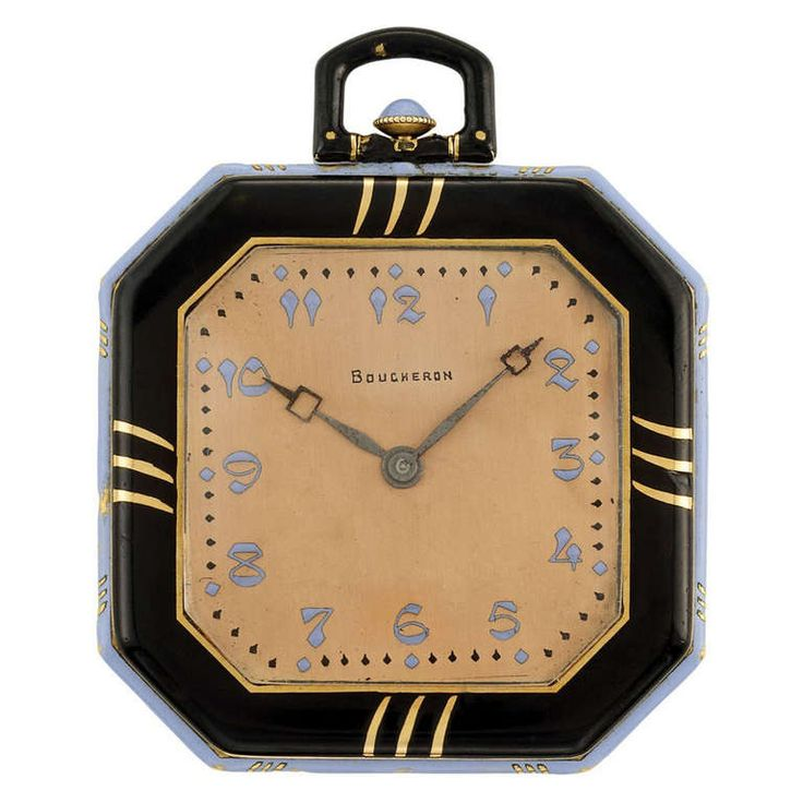 Boucheron Art Deco Gold Pocket Watch with Black and Periwinkle Blue Enamel | From a unique collection of vintage pocket watches at https://www.1stdibs.com/jewelry/watches/pocket-watches/