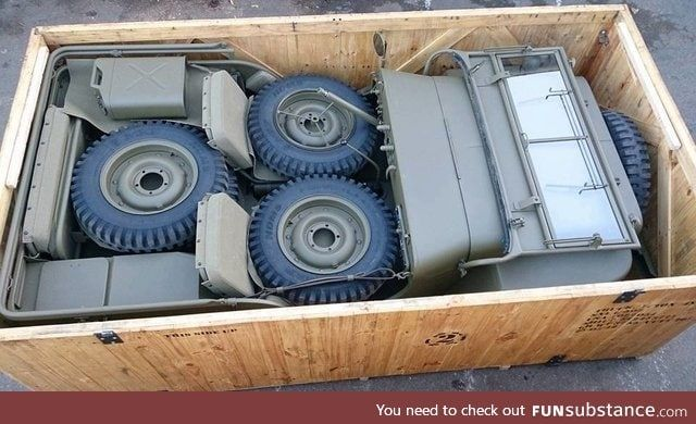 Military Jeep in a crate