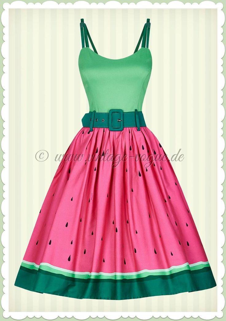 Collectif 50er Jahre Vintage Wassermelonen Kleid - Jade - Pink Grün