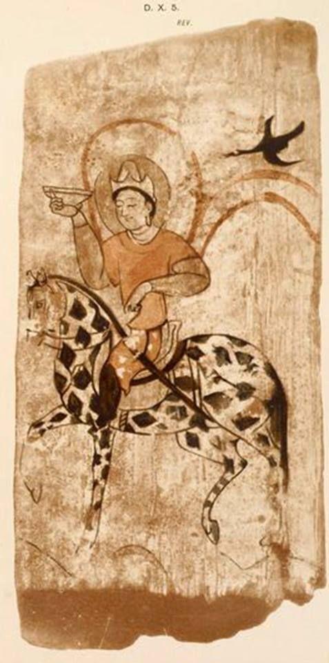 """Çok değerli Emel Esin'in """"Alaca Atlı Yol Tengrisi"""" olarak yorumladığı, elinde Türk Ant Kadehi olan, Türk Uygur Budist Fresk. Türk Kozmolojisinde Zaman """"AT"""" ile ifade edilirdi. Üzerindeki binici zamanı sürerdi..Alaca atlar Siyah ve Beyaz renk özelliklerinden dolayı, Ay'a ve Gece ve Gündüze benzetilirdi. Kaşgariye göre de At Ay hayvanıdır ve alnındaki beyaz leke Ay içindir.Nuray Bilgili."""