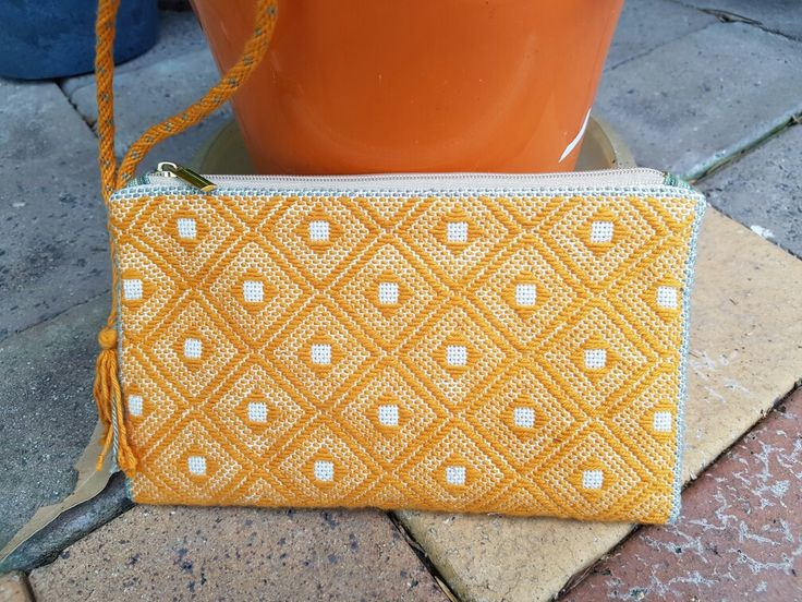 Kogin embroidered clutch purse with kumihimo strap.