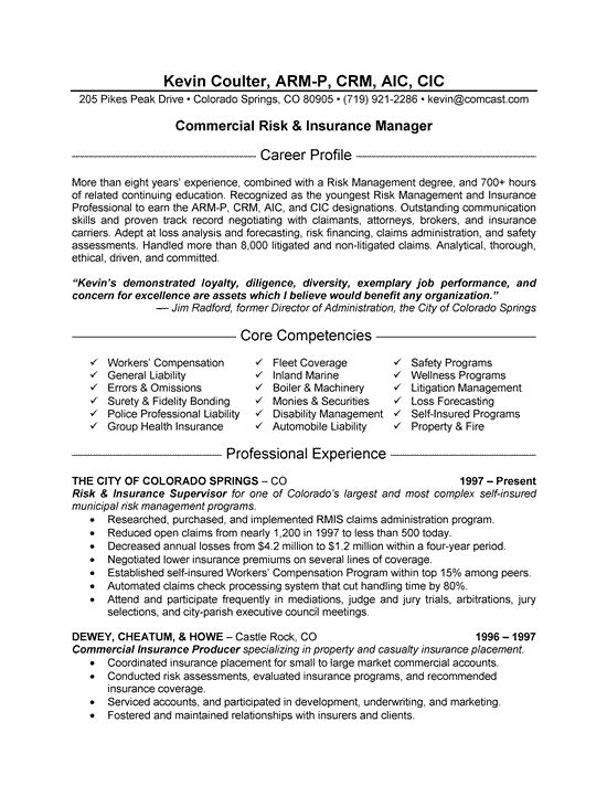 Insurance Manager Resume Example Resume Examples Sample