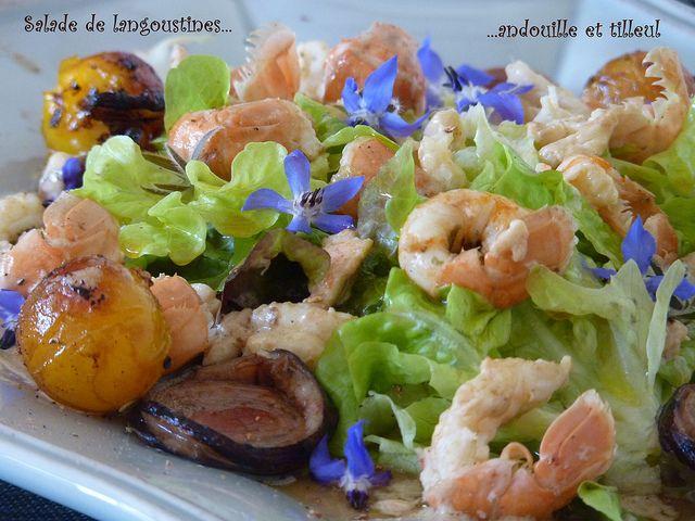 Salade de langoustines, andouille et feuilles de tilleul, vinaigrette au miel
