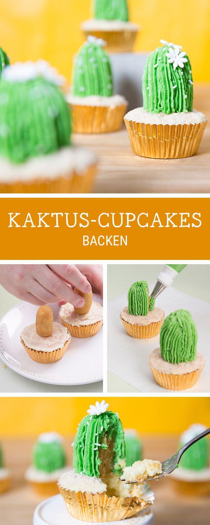 Originelle Rezeptidee: Cupcakes in Form von Kakteen backen, Party Rezepte / party food recipe: how to make cactus cupcakes via http://DaWanda.com