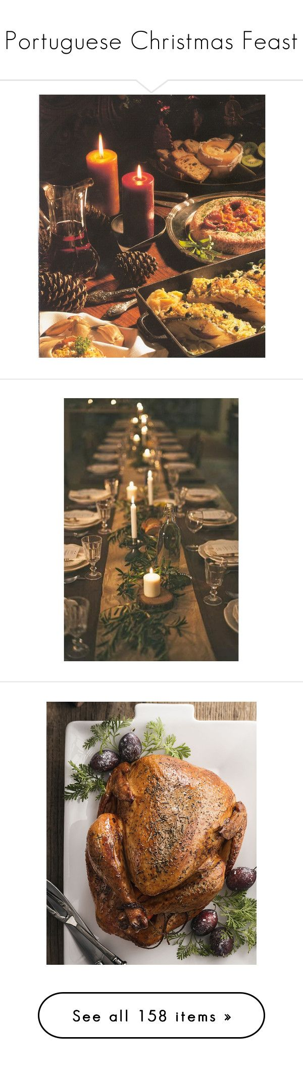 """""""Portuguese Christmas Feast"""" by r-maggie ❤ liked on Polyvore featuring backgrounds, christmas, home, kitchen & dining, light brown, home decor, holiday decorations, food, background food/drink and photos"""