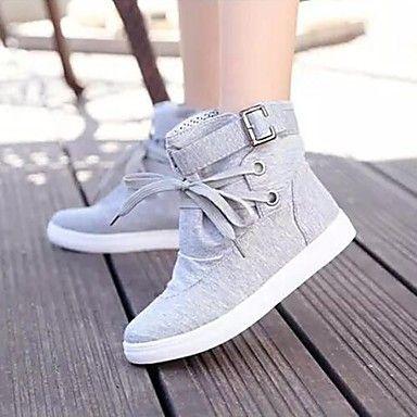 Calçados Femininos - Tênis Social - Conforto / Arrendondado - Rasteiro - Preto / Cinza - Lona - Casual de 2015 por R$106,64