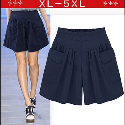 2017 Summer Plus size Short women XL- 4XL 5XL Wide Leg Female Shorts Casual Loose Ladies Khaki High waist thin pantalones cortos