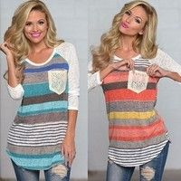 Main fabric: cotton Style: stripes Lead: round collar Sleeve type: long sleeve Color: orange, blue S