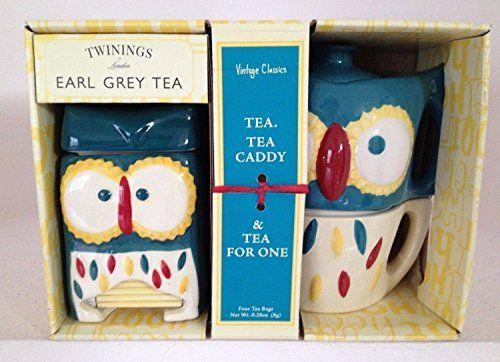 Vintage Classics Owl Tea for One & Owl Tea Caddy with Twinings Earl Grey Tea Reviews - http://www.teasetsale.com/vintage-classics-owl-tea-for-one-owl-tea-caddy-with-twinings-earl-grey-tea-reviews-3/      $  111.73 Tea-For-One Sets Product Features  Two piece ceramic set includes mug with mini-tea maker and ceramic caddy to store your tea bags Popular and colorful retro style owl design Includes four Twinings Earl Grey Tea bags    Tea-For-One Sets Product Description This
