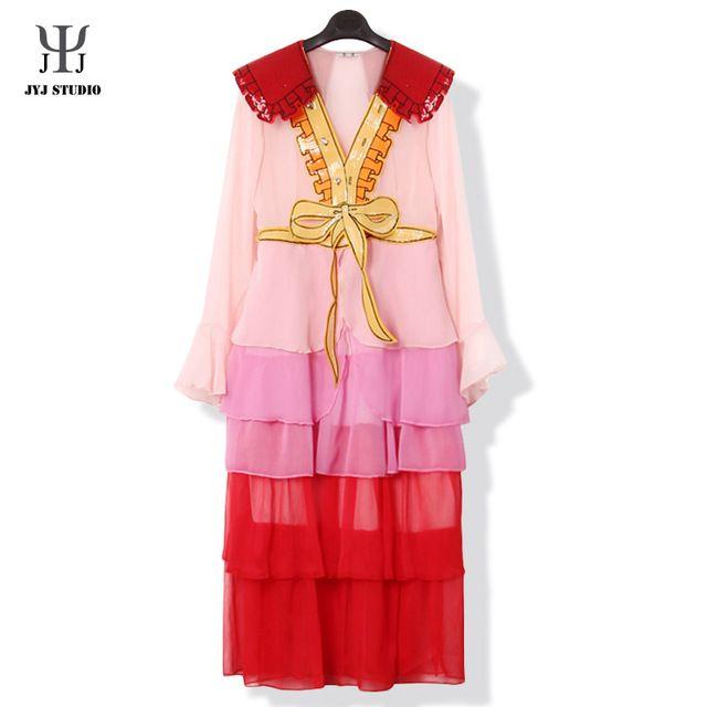 Pink Chiffon Dress Pleated Long Sequin Dress Butterfly Sleeve Big Bow Sexy Transparent Dress V-neck Women Maxi Dress Summer