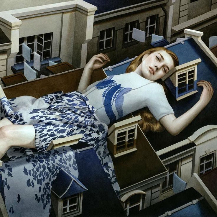 Floating above the buildings. Surreal art of the Vietnamese-born US-based Tran Nguyen. Her paintings depict delicate young women resting on top of old buildings sleeping or sometimes posing in the middle of the street as giant figures. They are mesmerising and possess an enigmatic quality that is truly fascinating. The pale colours and soft brushstrokes heighten this mood.  Парящая над домами. Сюрреалистичные работы американского художника с вьетнамскими корнями Тран Нгуен изображают нежных…