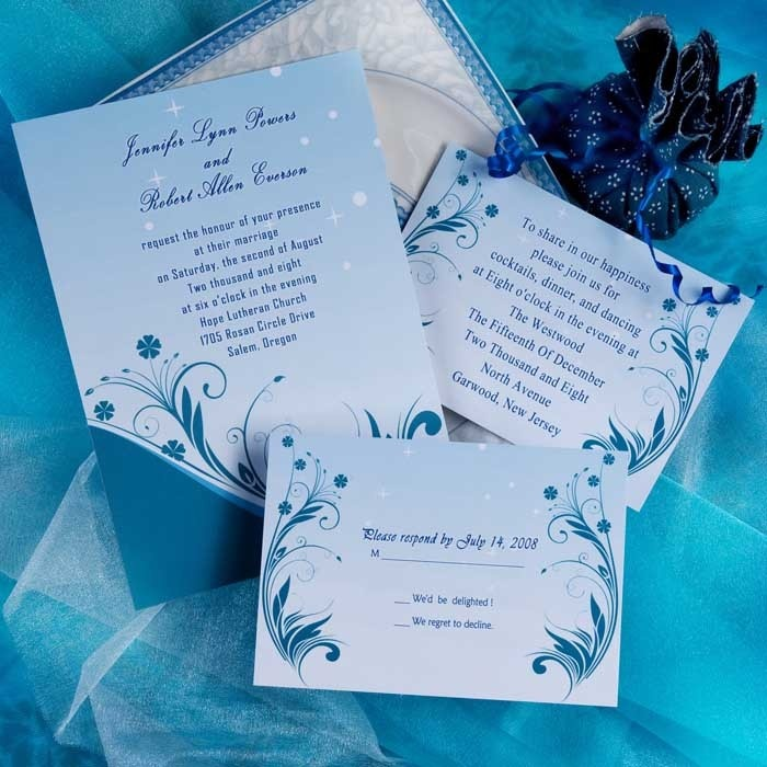 second wedding invitations wording%0A Blue Daisy Wedding Invitations