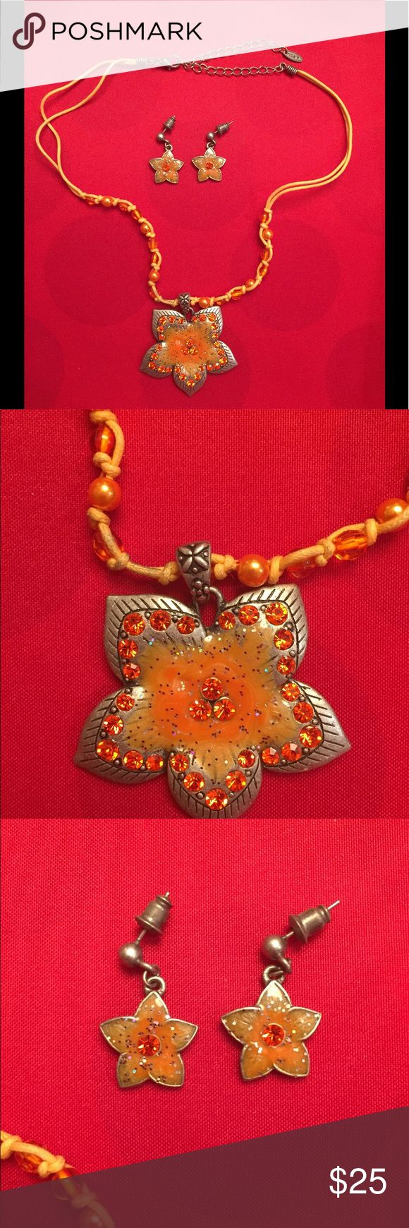 "Vintage VLCM Necklace & Earring Set Vintage VLCM Necklace & Earring Set. Beautiful Orange & Silver Flowers. Approx 16"" with an Extender. VLCM Jewelry Necklaces"