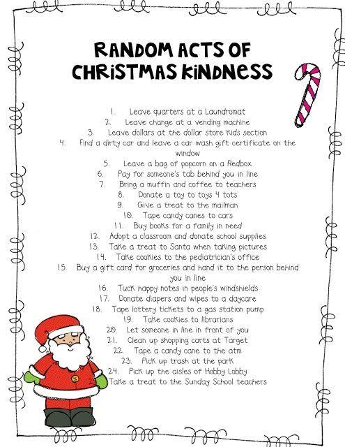 random acts of kindness printables | DIY Random Acts of Christmas Kindness Advent ... | Favorite Recipes