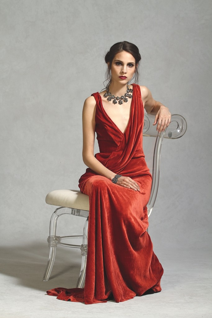 Carmen Marc Valvo's silk velvet gown. Badgley Mischka necklace and bracelet.