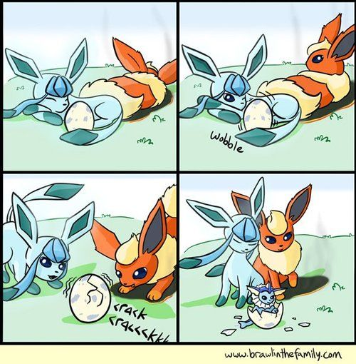 This is cute, and I get ice+fire=water but fairly sure that is supposed to be a eevee coming from that poke' egg