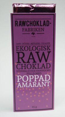 Smaskiga och krispiga nyheter från svenska Rawchokladfabriken - mörk, rå choklad med poppad amarant. 55 kr hos vitavera.se