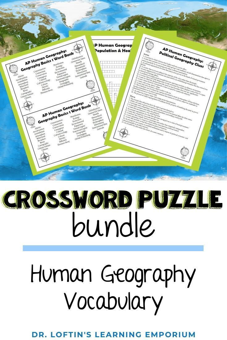 Ap Human Geography Vocabulary Crossword Puzzle Bundle Ap Human