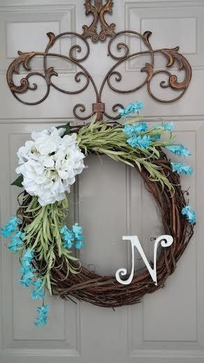 Year Round Wreath, Hydrangea Wreath, Spring Wreath, Summer Wreath, Winter Wreath, Door Wreath, Monogram Wreath on Etsy, $43.00