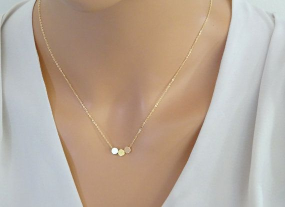 Floating DOT Necklace, Silver, Gold & Rose Gold circle necklace on 14k gold fill chain, Minimal Layered necklace, Layering Necklace, This beautiful