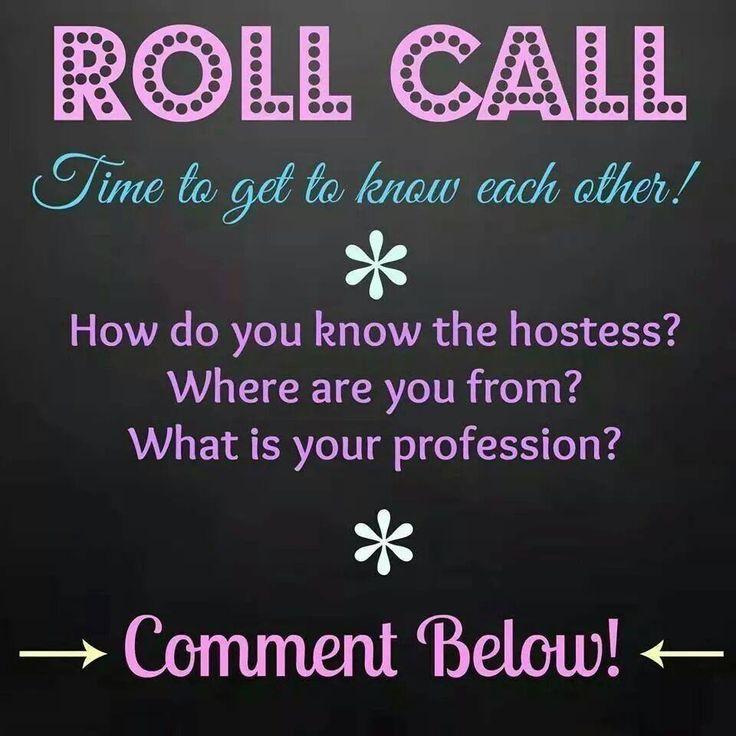 Online Party Game: Roll Call https://www.facebook.com/pages/Pure-Romance-by-Karen/249564233019 pureromancebykaren@hotmail.com