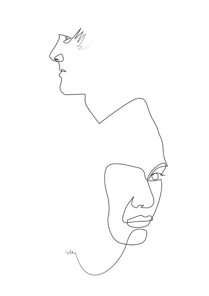 Single Line Art : Something like this with some soft colours squares for