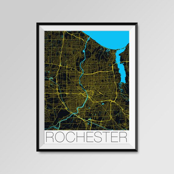 Rochester map, New York, USA, yellow, Rochester print, Rochester poster, Rochester map art, Rochester city maps, Rochester Minimal Wall Art, Rochester Office Home Décor, black and white custom maps, personalized maps