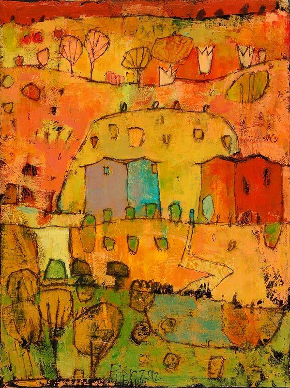 "Jane Filer painting: ""Autumn Road"" acrylic on canvas 13.5"" x 17.5"" - O'Brien Gallery - Greensboro, NC"
