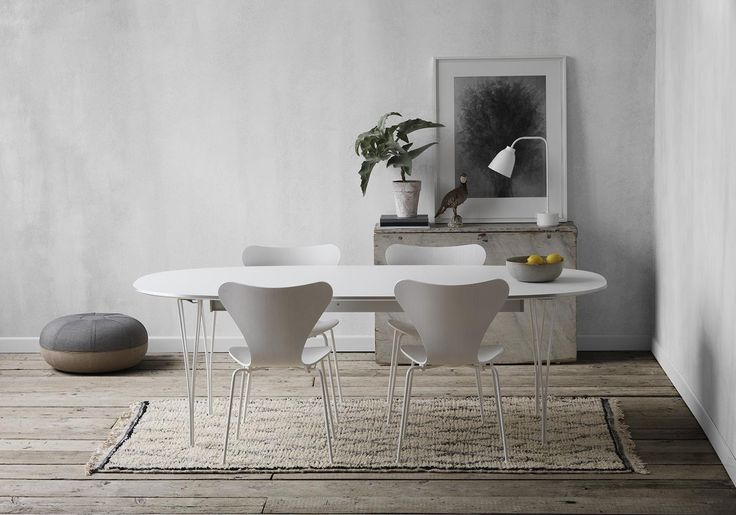 Super-Elliptic Table by Bruno Matsson and Piet Hein, Ant chair by Arne Jacobsen and Pouf by Cecilie Manz from Fritz Hansen