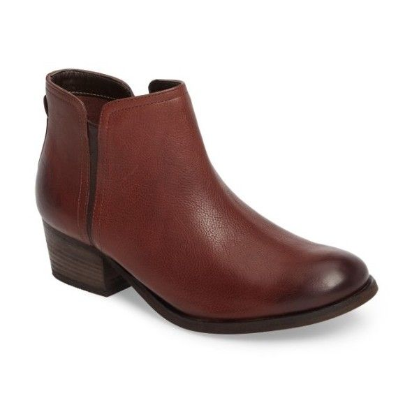 Women's Clarks Maypearl Ramie Bootie (175 CAD) ❤ liked on Polyvore featuring shoes, boots, ankle booties, mahogany brown leather, leather boots, brown leather ankle booties, brown boots, clarks boots and brown ankle booties