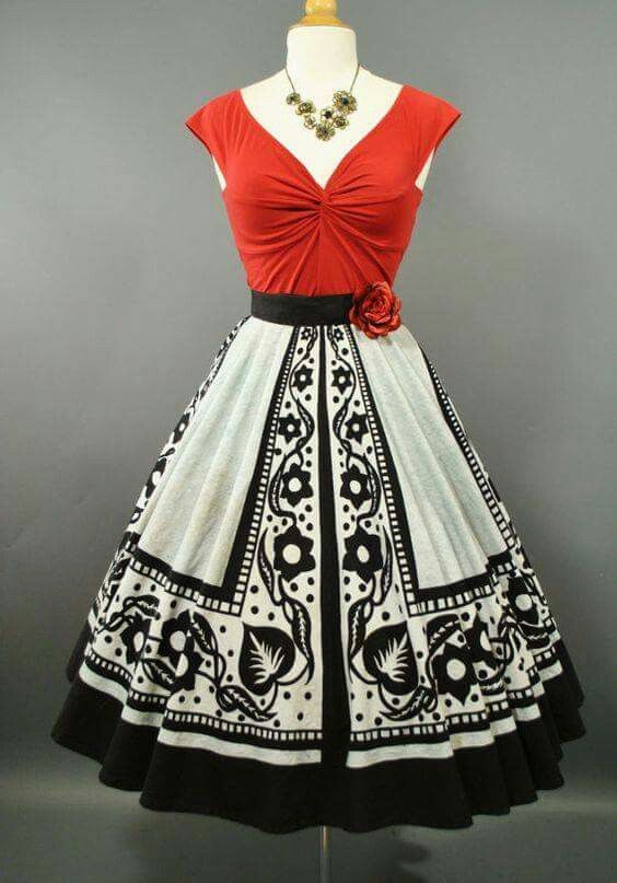 Red and White dress 50's