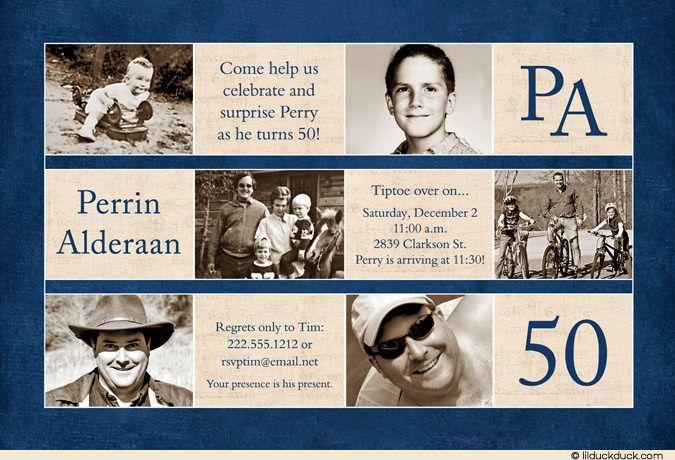 Photo Tiles 50th Birthday Invitation - Blue & Ivory ...
