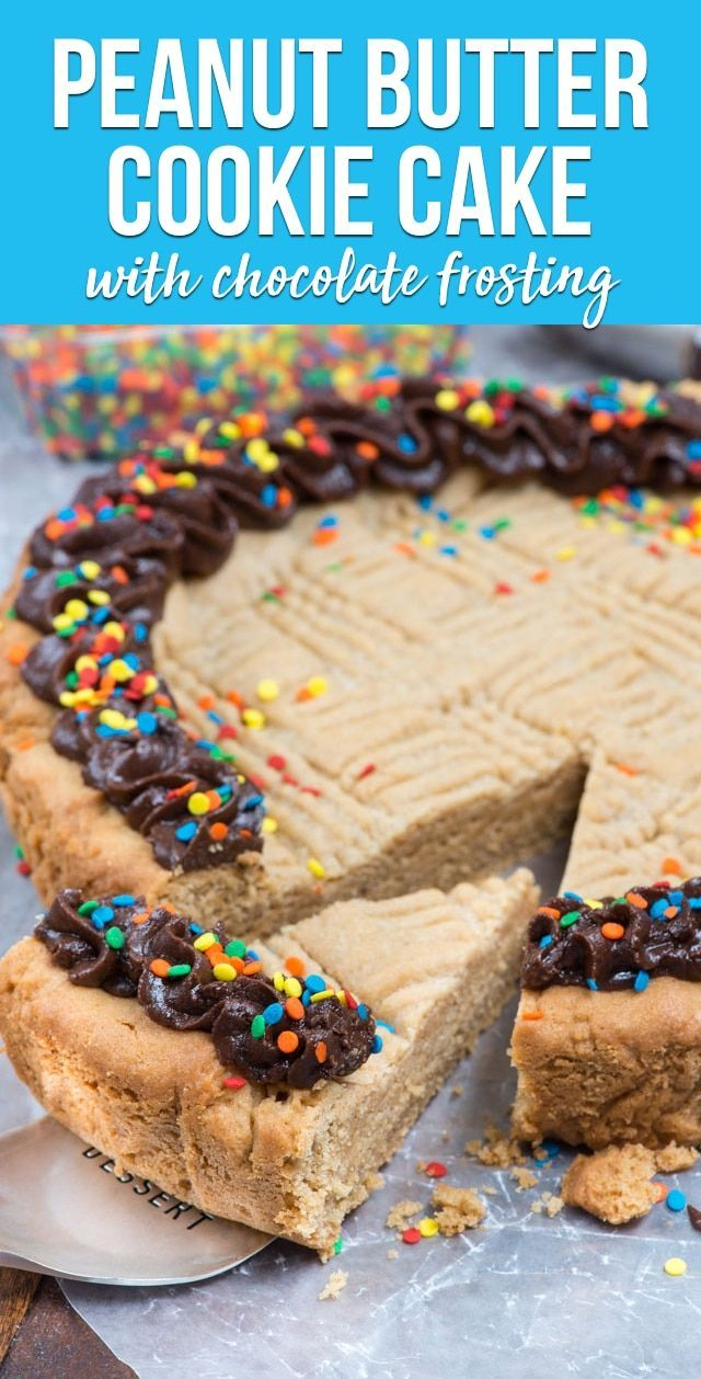 The BEST ever peanut butter cookie cake has a choc…