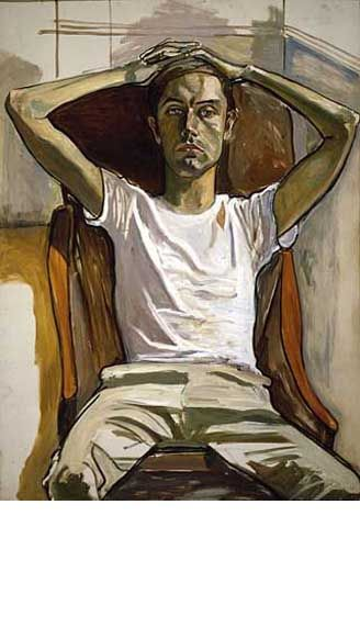 alice neel. look at the way the light and shade is created on the khakis, on the white t-shirt.