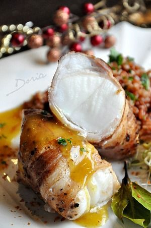 Roast monkfish with brown rice with saffron sauce