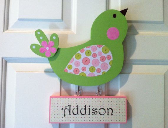 @Mal Vandenberg - think you could also make one of these for each of the girls?  Bird Door Sign Personalized Wooden Birdie Door by TheWoodenOwl, $29.99